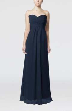 Navy Blue Simple Empire Sweetheart Zipper Ruching Bridesmaid Dresses