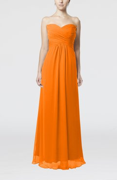 Orange Simple Empire Sweetheart Zipper Ruching Bridesmaid Dresses