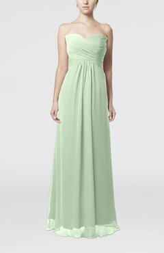 Pale Green Simple Empire Sweetheart Zipper Ruching Bridesmaid Dresses
