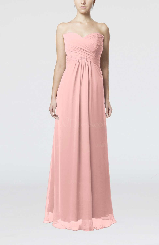 Pastel Pink Simple Empire Sweetheart Zipper Ruching