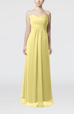 Pastel Yellow Simple Empire Sweetheart Zipper Ruching Bridesmaid Dresses