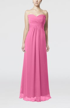 Pink Simple Empire Sweetheart Zipper Ruching Bridesmaid Dresses