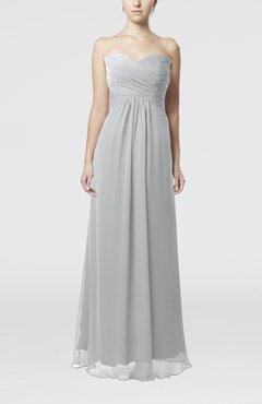 Platinum Simple Empire Sweetheart Zipper Ruching Bridesmaid Dresses