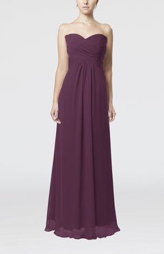 Plum Simple Empire Sweetheart Zipper Ruching Bridesmaid Dresses