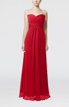 Red Simple Empire Sweetheart Zipper Ruching Bridesmaid Dresses