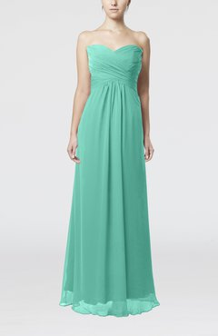 Seafoam Green Simple Empire Sweetheart Zipper Ruching Bridesmaid Dresses