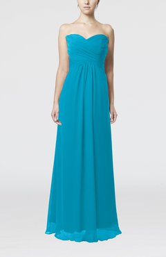 Teal Simple Empire Sweetheart Zipper Ruching Bridesmaid Dresses