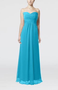 Turquoise Simple Empire Sweetheart Zipper Ruching Bridesmaid Dresses
