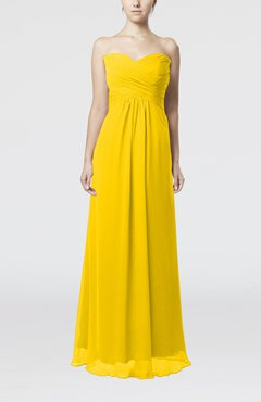Yellow Simple Empire Sweetheart Zipper Ruching Bridesmaid Dresses