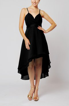 Black Modern A-line Sleeveless Zipper Chiffon Hi-Lo Party Dresses