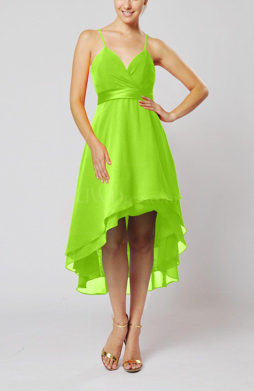 Bright Green Modern A-line Sleeveless Zipper Chiffon Hi-Lo ...