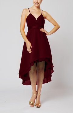 Burgundy Modern A-line Sleeveless Zipper Chiffon Hi-Lo Party Dresses