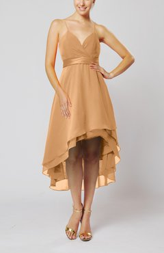 Burnt Orange Modern A-line Sleeveless Zipper Chiffon Hi-Lo Party Dresses
