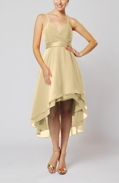 Champagne Modern A-line Sleeveless Zipper Chiffon Hi-Lo Party Dresses