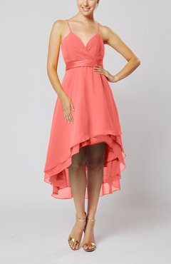 Coral Modern A-line Sleeveless Zipper Chiffon Hi-Lo Party Dresses