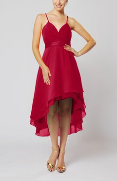 Dark Red Modern A-line Sleeveless Zipper Chiffon Hi-Lo Party Dresses