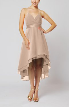 Dusty Rose Modern A-line Sleeveless Zipper Chiffon Hi-Lo Party Dresses