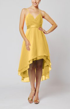 Gold Modern A-line Sleeveless Zipper Chiffon Hi-Lo Party Dresses