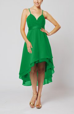 Green Modern A-line Sleeveless Zipper Chiffon Hi-Lo Party Dresses
