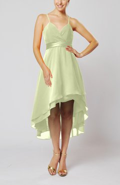 Ivory Modern A-line Sleeveless Zipper Chiffon Hi-Lo Party Dresses
