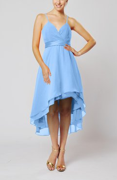 Light Blue Modern A-line Sleeveless Zipper Chiffon Hi-Lo Party Dresses