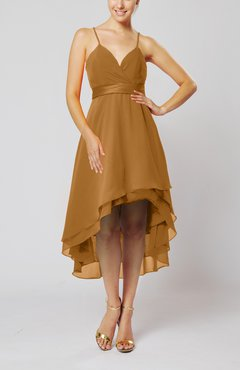 Light Brown Modern A-line Sleeveless Zipper Chiffon Hi-Lo Party Dresses