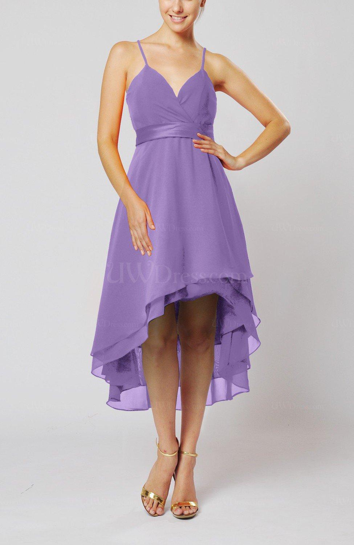 Lilac Modern A Line Sleeveless Zipper Chiffon Hi Lo Party