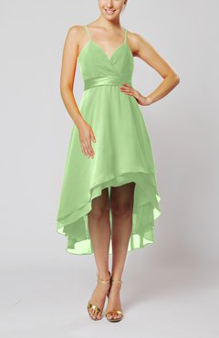 Pale Green Modern A-line Sleeveless Zipper Chiffon Hi-Lo Party Dresses