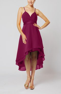 Raspberry Modern A-line Sleeveless Zipper Chiffon Hi-Lo Party Dresses