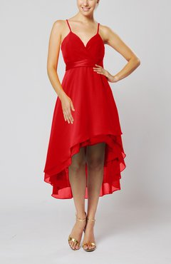 Red Modern A-line Sleeveless Zipper Chiffon Hi-Lo Party Dresses