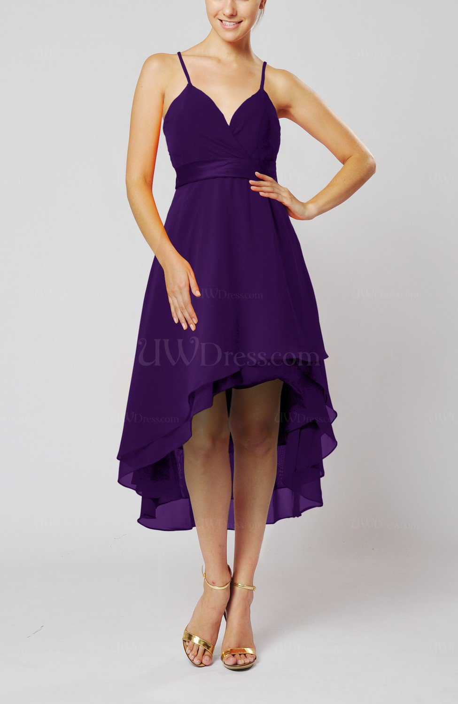 Royal Purple Modern A Line Sleeveless Zipper Chiffon Hi Lo