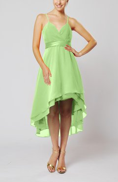 Sage Green Modern A-line Sleeveless Zipper Chiffon Hi-Lo Party Dresses