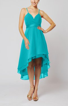 Teal Modern A-line Sleeveless Zipper Chiffon Hi-Lo Party Dresses