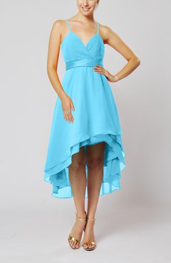 Turquoise Modern A-line Sleeveless Zipper Chiffon Hi-Lo Party Dresses