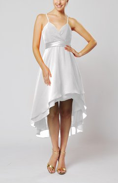 White Modern A-line Sleeveless Zipper Chiffon Hi-Lo Party Dresses