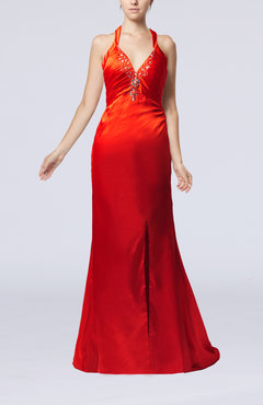 Red Sexy Column Sleeveless Criss-cross Straps Sweep Train Split-Front Prom Dresses
