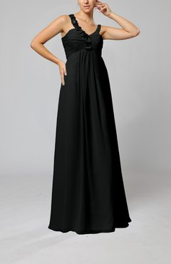 Black Elegant Empire Zipper Chiffon Floor Length Sequin Bridesmaid Dresses