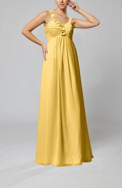 Gold Elegant Empire Zipper Chiffon Floor Length Sequin Bridesmaid Dresses