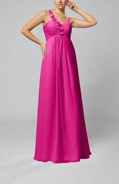 Hot Pink Elegant Empire Zipper Chiffon Floor Length Sequin Bridesmaid Dresses