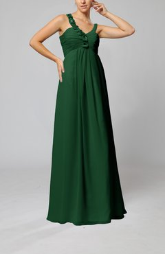 Hunter Green Elegant Empire Zipper Chiffon Floor Length Sequin Bridesmaid Dresses