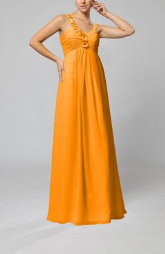 Orange Elegant Empire Zipper Chiffon Floor Length Sequin Bridesmaid Dresses