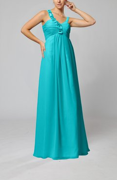 Teal Elegant Empire Zipper Chiffon Floor Length Sequin Bridesmaid Dresses