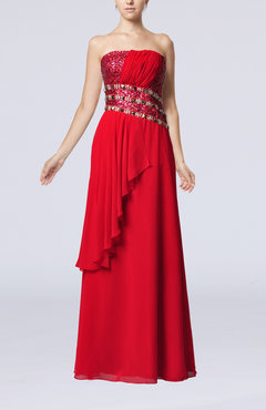 Red Glamorous Sheath Strapless Floor Length Beaded Party Dresses