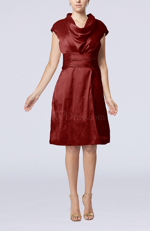 Burgundy modern jewel short sleeve taffeta knee length for Modern house dress