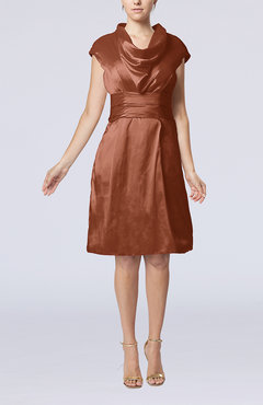 Cinnamon Modern Jewel Short Sleeve Taffeta Knee Length Bridesmaid Dresses