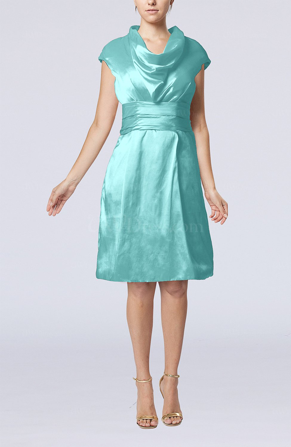 one shoulder draped bridesmaid dresses short turquoise