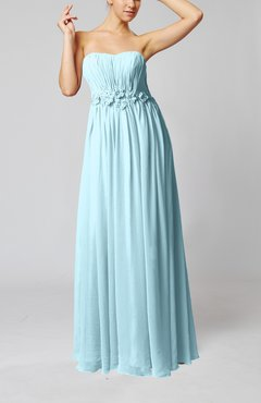 Aqua Elegant Empire Strapless Floor Length Flower Evening Dresses