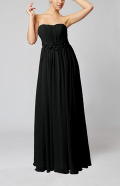 Black Elegant Empire Strapless Floor Length Flower Evening Dresses