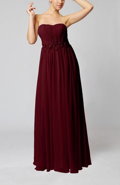Burgundy Elegant Empire Strapless Floor Length Flower Evening Dresses