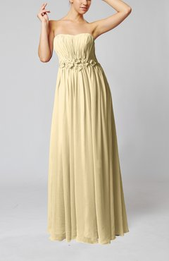 Champagne Elegant Empire Strapless Floor Length Flower Evening Dresses